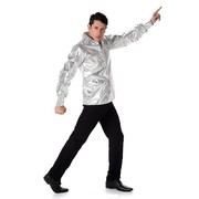 Adult Silver Sequin Disco Shirt Costume (Large, 107-112cm) Pk 1 (SHIRT ONLY)