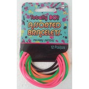 80's Fluoro Assorted Colour Rubber Bracelets Pk 12