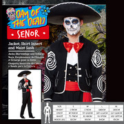 Adult Day of the Dead Senor Halloween Costume (X Large) Pk 1