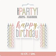 Happy Birthday Candle + Spiral Candle Set Pk 1