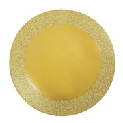 Round Gold Place Mats with Glitter Border (14in) Pk 8