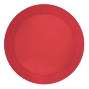 Round Red Place Mats with Glitter Border (14in) Pk 8