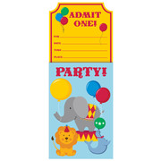 Circus Time Invitations & Envelopes Pk 8