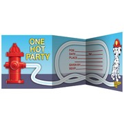 Fire Engine Party Invitations & Envelopes - Firefighter Pk8
