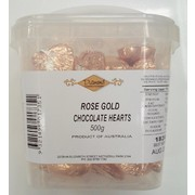 Rose Gold Chocolate Hearts 500g (approx 50 hearts in jar)