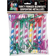 New Year Fringed Party Blowouts Pk8 (Assorted Designs)