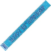 Happy 16th Birthday Glitz Blue Banner (3.6m) Pk 1