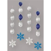 Hanging Foil Christmas Snowflake Decorations Pk4