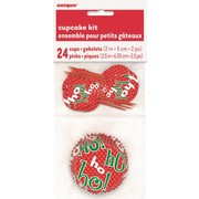Christmas Ho Ho Ho Cupcake Kit With Pick Toppers Pk 24