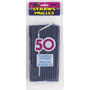 Navy Blue Flexible Straws Pk 50