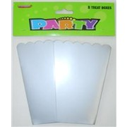 Silver Cardboard Party Treat Boxes Pk 8