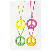 Neon Peace Sign Necklace (Assorted Colours) Pk 1