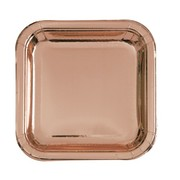 Rose Gold Foil 7in. Square Paper Plates Pk 10
