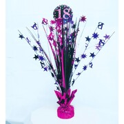 18 Pink, Purple & Black Foil Centrepiece Weight Pk 1