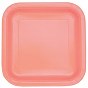 Coral 9in. Square Paper Plates Pk 14