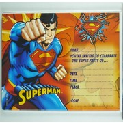 Superman Invitations & Envelopes Pk 8