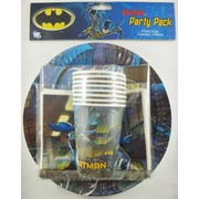 Batman Party Pack for 8 Pk 40 (8 Cups, 8 Plates, 8 Loot Bags & 16 Napkins)