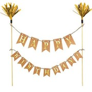 Kraft Happy Birthday with Gold Cake Topper Banner Pk 1