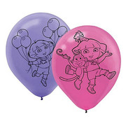 Dora The Explorer Helium Quality Latex Balloons Pk 6 (3 Pink & 3 Purple)
