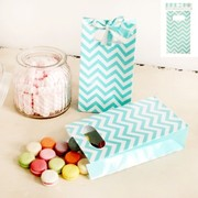 Teal Chevron Paper Party Bags Pk 4