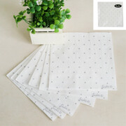 White 3 Ply Lunch Napkins with Silver Dots Pk 20