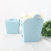 Luxe Blue Party Noodle Box with Gold Dots Pk 3