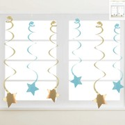Luxe Blue & Gold Hanging Star Swirl Decorations Pk 6
