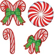 Assorted Size Christmas Candy Glittered Cutout Decorations Pk 20