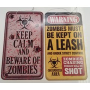 Assorted Design Zombie Road Sign Decoration Pk 2