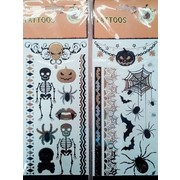 Assorted Gold, Black & Silver Halloween Tattoos (2 Sheets)