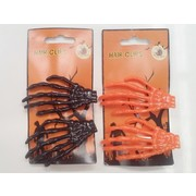 Assorted Colour Halloween Skeleton Hand Hair Clips (2 Packs of 2)