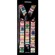 Adult Colourful Day of the Dead Halloween Suspenders Pk 1