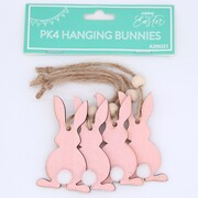 Pink Easter Bunnies Hanging Decorations Pk 4