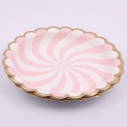 Luxe Pink & White Fan Stripe Paper Plates with Gold Trim (22cm) Pk 12