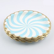 Luxe Blue & White Fan Stripe Paper Plates with Gold Trim (22cm) Pk 12