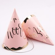 Luxe Pink & Gold Hip Hip Hooray Party Hats Pk 4