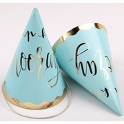 Luxe Blue & Gold Hip Hip Hooray Party Hats Pk 4