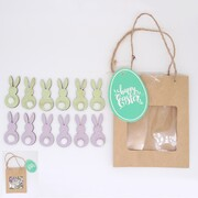 Mini MDF Easter Bunny Decorations in Bag Pk 12