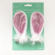 Pink Easter Bunny Ears with White Fluff on Hair Clip (1 Pair)