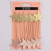 Glittered Coral & Gold Star Cupcake Picks Pk 12