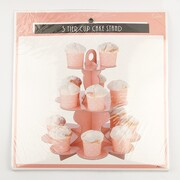 Coral Colour 3 Tier Cupcake Stand with White Polka Dots Pk 1