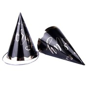 Black & Gold Hip Hip Hooray Party Hats Pk 4