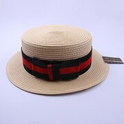 Adult Boater Skimmer Hat with Striped Red & Black Band Pk 1