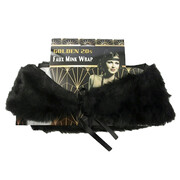 1920s Adult Flapper Faux Mink Fur Black Shoulder Wrap Pk 1