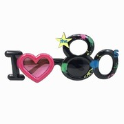 I Love The 80s Black Party Glasses with Paint Splatter Print Pk 1