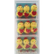 Easter Assorted Style Mini Chicken & Fruit Decorations (3 Packs of 3 Decorations)
