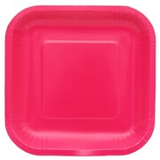 Magenta Hot Pink Square Paper Plates (18cm) Pk 20