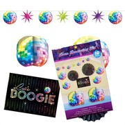 Disco Fever Room Decorating Kit (Centrepieces, Garland & Fans) Pk 10