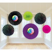 Disco Fever Assorted Paper Fans Pk 6