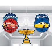 Cars 3 Hanging Honeycomb Decorations Pk 3